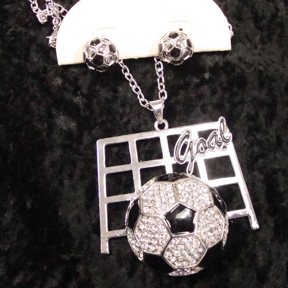 """20"""" Silver Chain Necklace Set w/ Crystal Stone Soccer Ball sold by pc $ .75"""