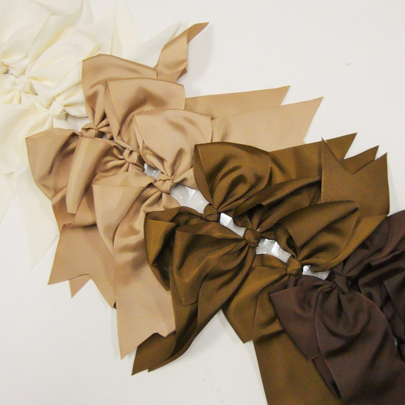 "6"" X 8"" Cheerleader Tail Bows on Gator Clip Mixed  Brown Tones .54 ea"