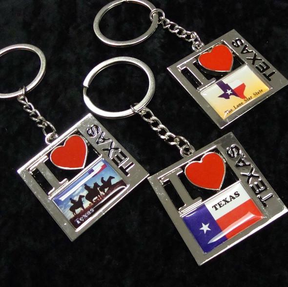 Best Quality I Love Texas Metal Keychains 12 per pk @ .54 ea