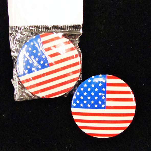 "1.5"" Metal USA Flag Buttons 12 per pk @ .16 ea"