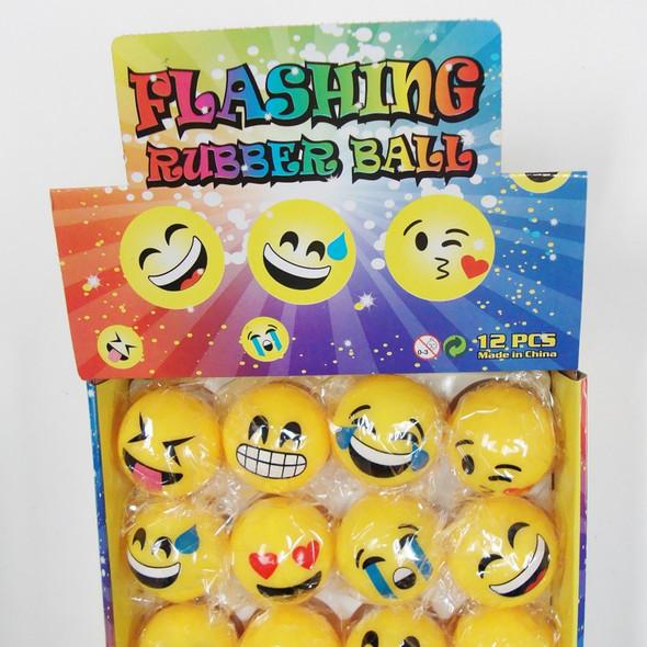 """2"""" Light Up Moody Face Emoji Balls 12 per display .60 ea"""