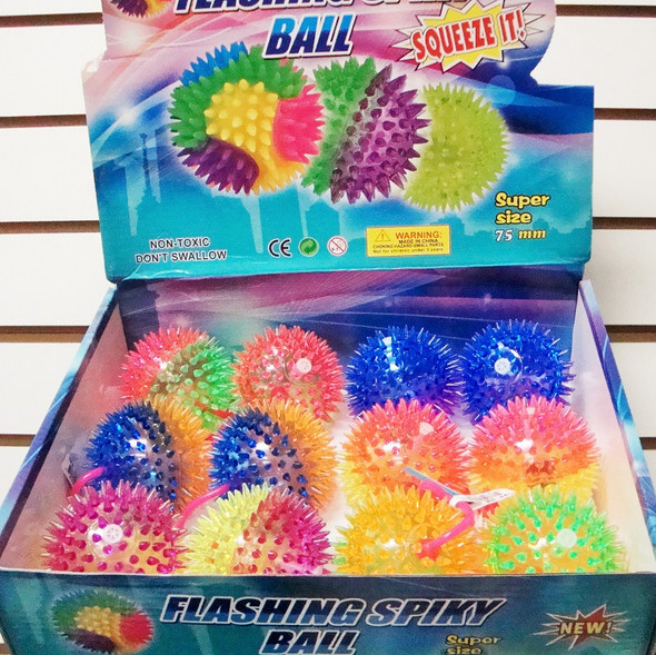 "3"" Two Tone Spikey Light Up YoYo Ball 12 per display .60 ea"