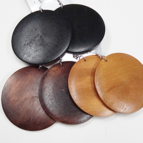 """2.75"""" Big Round Wood Fashion Earrings Blk & Browns .58 ea"""