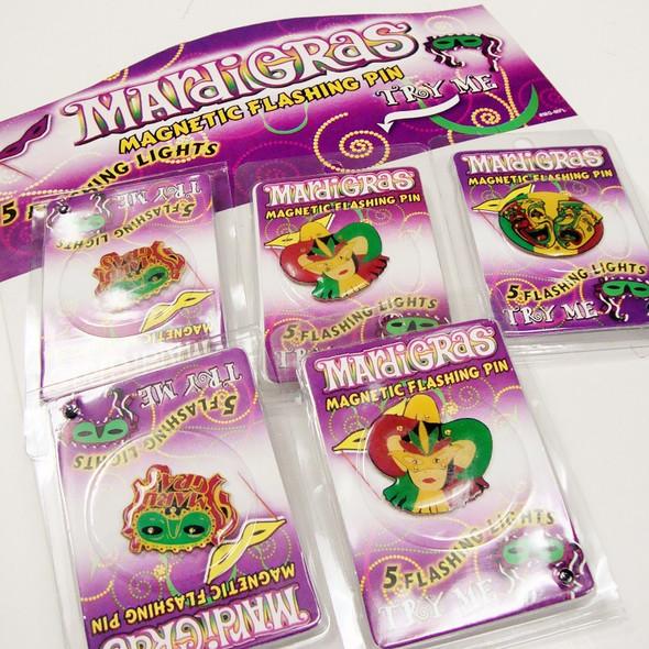 Magnetic Flashing Mardi Gras Pins 36 per display NEEDS BATTERIES .10 ea