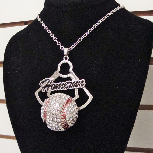 """SPECIAL  16""""  Silver Chain Necklace Set w/ Crystal Stone Baseball  -12 per pk  .60 each"""