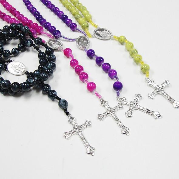 """36"""" MBL Glass Beaded Rosary w/ Silver Cross w/ JESUS .58 ea"""