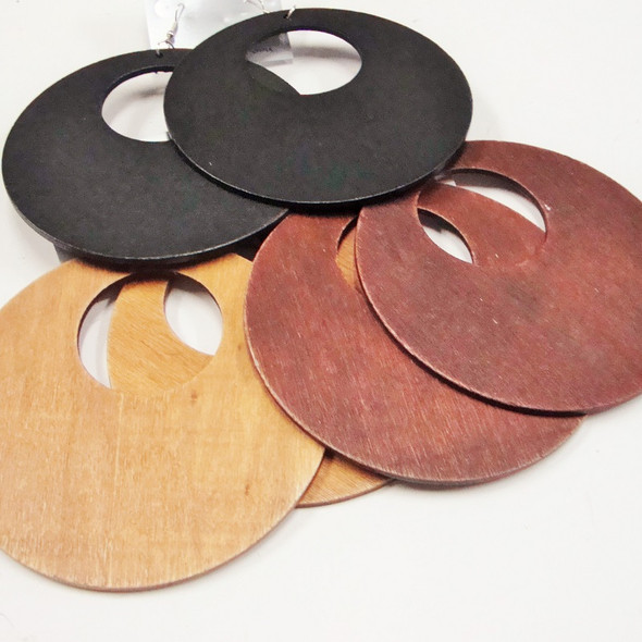"""4"""" Round Wood Fashion Earring 3 colors  .58 ea pair"""