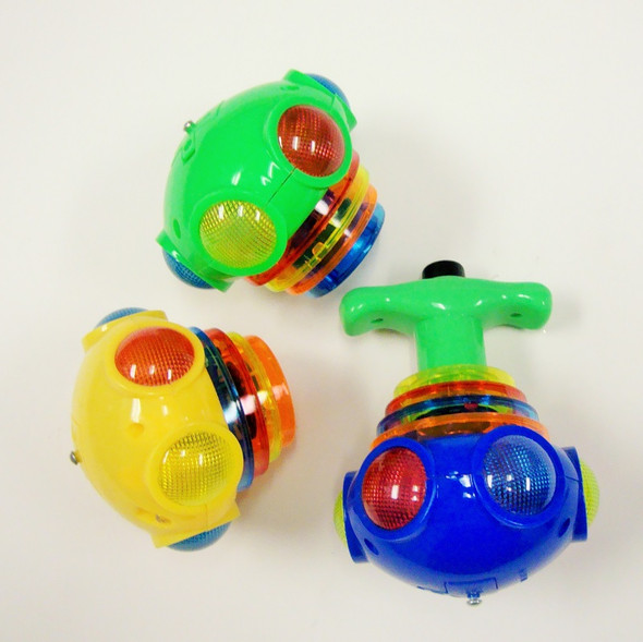 """5"""" LED Light & Sound UFO Spin Tops  12 per display $ 1.25 each"""
