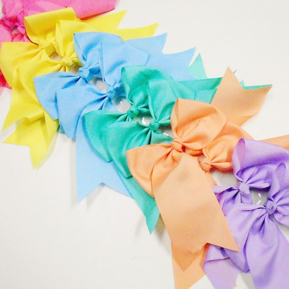 "6"" X 8"" Cheerleader Tail Bows on Gator Clip Mixed Pastels  .54 ea"