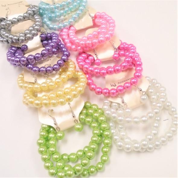 Great Value 3 Pk Glass Bead Stretch Bracelet & Earrings Set Pastels .56 ea set