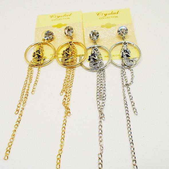 Gold & Silver Mermaid Earrings w/ Long Chains .54 each
