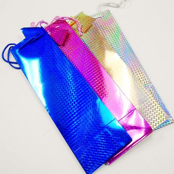 """4"""" X 14"""" Hologram Bottle Gift Bags 12 per pk .45 each"""