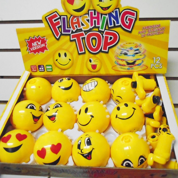 "3"" Rd Emoji Light & Sound Spinning Tops 12 per display bx $ 1.20 each"