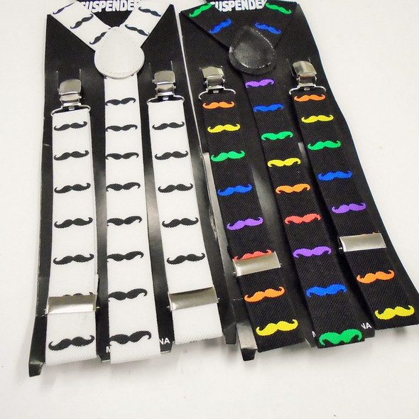Special Mustache Print Fashion Suspenders  ONLY .62 each