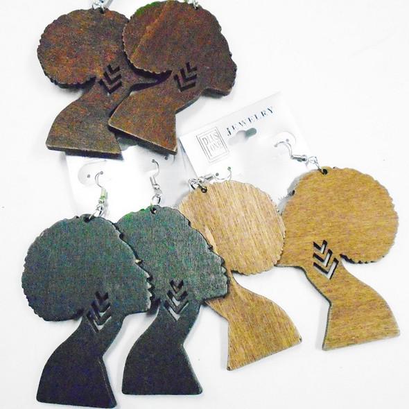 "3"" 3 Color Wood Fashion Earrings Afro Women  .56 each"