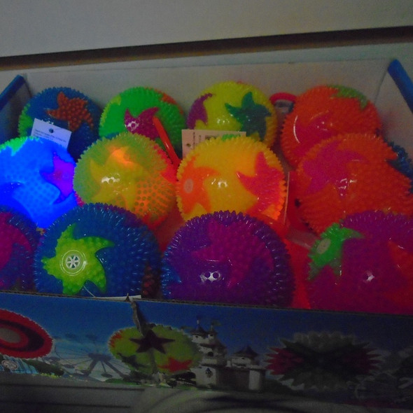 "3"" Spikey Starfish Flash Balls w/ YoYo 12 per bx .58 each"