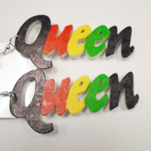 """3"""" Rasta Color QUEEN Wood Earrings .54 each"""