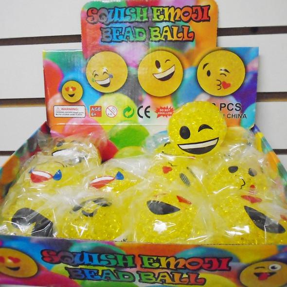 Fidget Squish/Stress Emoji Bead Balls 12 per display bx .75 each