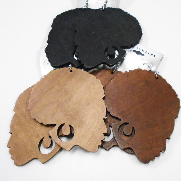 "3.5"" Large African Lady Head Wood Earrings .56 each"