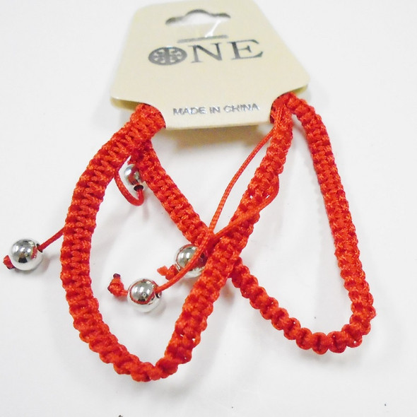 2 Pack All Red Macrame Bracelets w/ Silver Beads  .54 per set