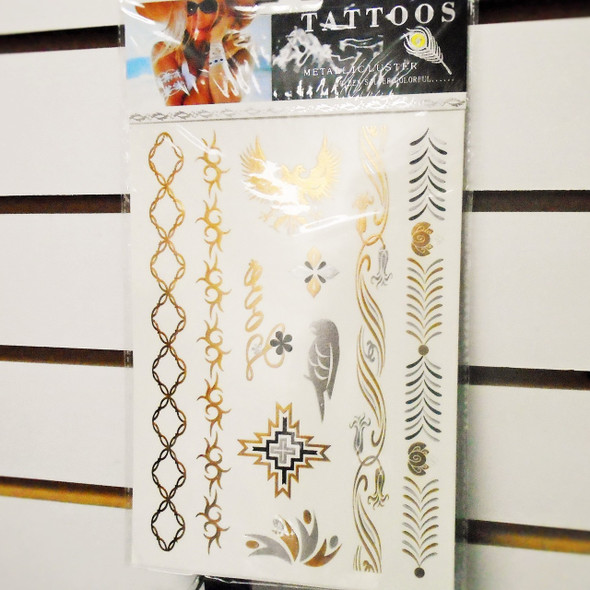 """6"""" X 8"""" Metallic Luster Temp Tattoos Mixed Styles per card ONLY .33 each"""