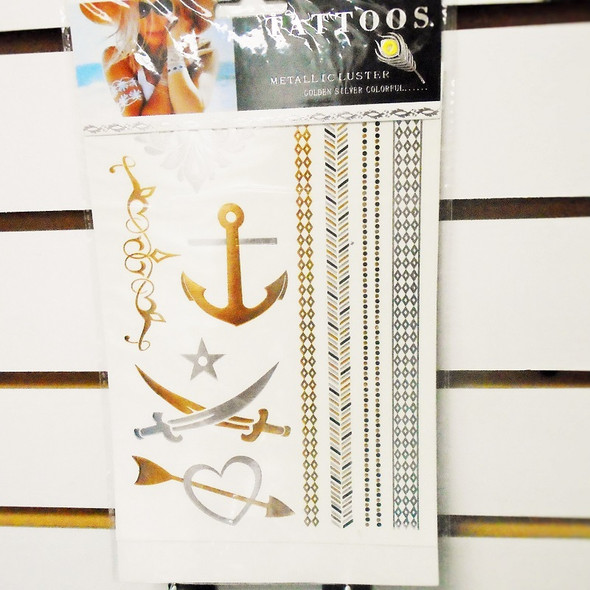 """6"""" X 8"""" Metallic Luster Temp Tattoos Mixed Styles per card ONLY .33 ea"""