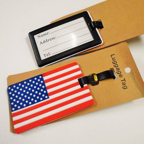 """4"""" Durable USA Theme Luggage Tags 12 per pk .56 each"""