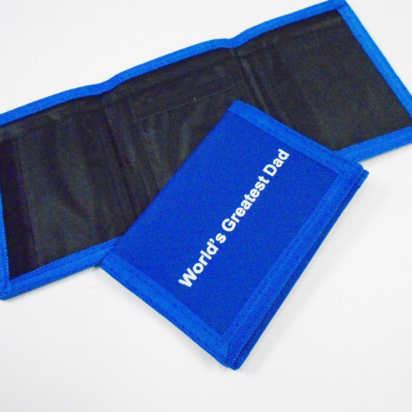 World's Greatest Dad Tri Fold Velcro Wallets Royal Blue 12 per pk .60 each