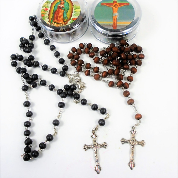 """Best Quality Heavy Scent 36"""" Wood Bead Rosary w/ Cross in Case .58 each"""