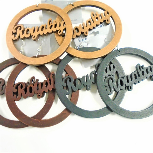 "3"" Wood Fashion Earrings Royalty 3 colors .54 each"