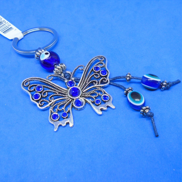 """2"""" Cast Silver Butterfly Keychains w/ Blue Stones .58 each"""