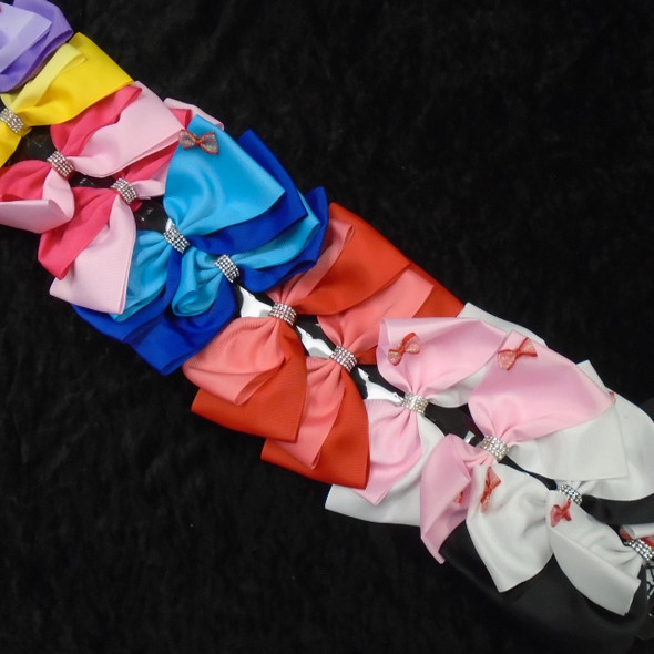 "TOO CUTE 6"" Big Gator Clip Bows Two Tone w/ Mini Bows & Crystals .54 ea"