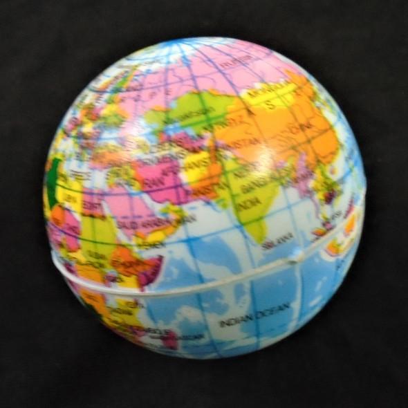 """2.5"""" World Globe Stress Relax Squeeze Balls 12 per pk .50 each"""
