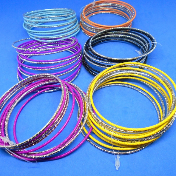 SPECIAL 12 Pack Metal Bangles Silver/Colors .39 per set