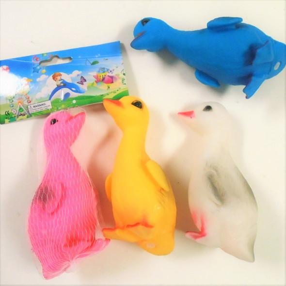 "5"" Squeakie Asst Color Ducks in Mesh Bag 12 per pk .50 each"