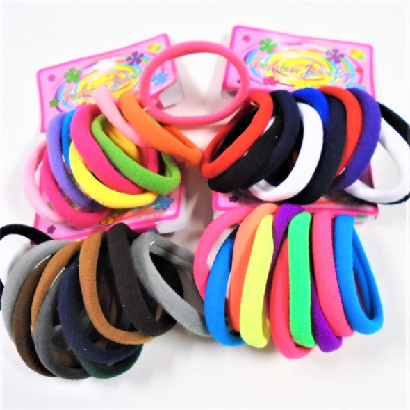 10 Pk Soft & Stretchy Asst Color Ponytailers .56 per set