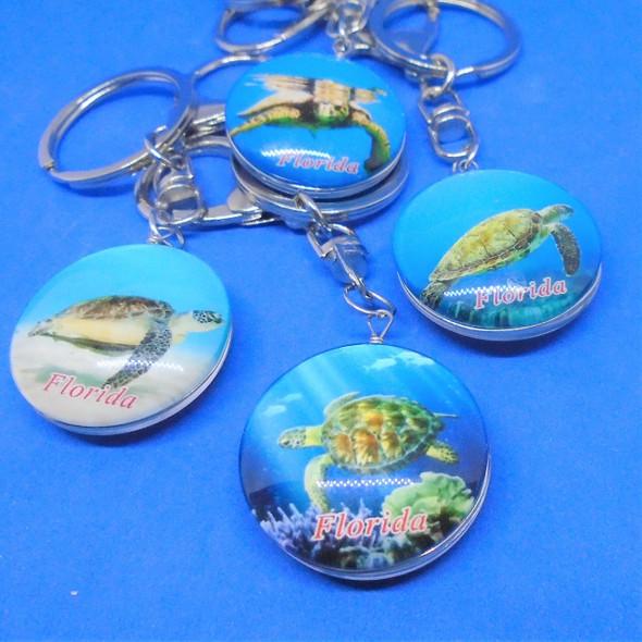 High Quality DBL Sided Glass Florida Keychains Turtle Theme .56 ea