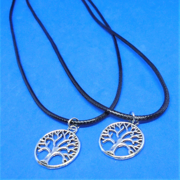 Black Cord Necklaces w/ Cast Silver Tree of Life Pendant 24 per pk .30 each