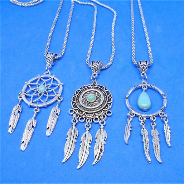 "26"" Silver Chain Necklace w/ Mixed Style Dream Catcher Pendants .60 ea"