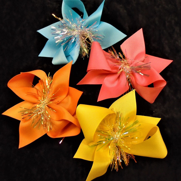 "4.5"" Mixed Color Gator Clip Bows w/ Shiney Tinsel  24 per pk ONLY .35 each"