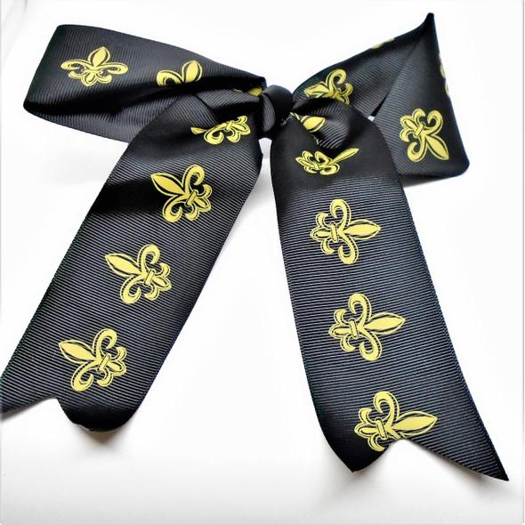 """6"""" All Black Gator Clip Tail Bows w/ Gold Fleur de lis  .54 each  GO SAINTS"""