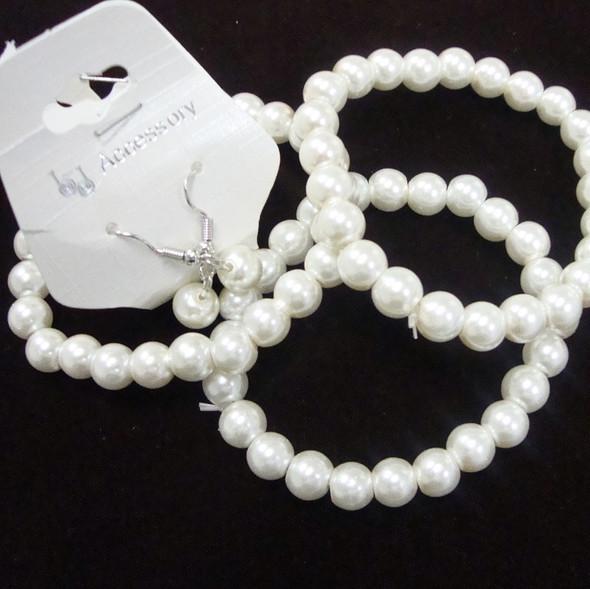 Great Value 3 Pk Glass Bead Stretch Bracelet & Earrings Set White .56 ea set