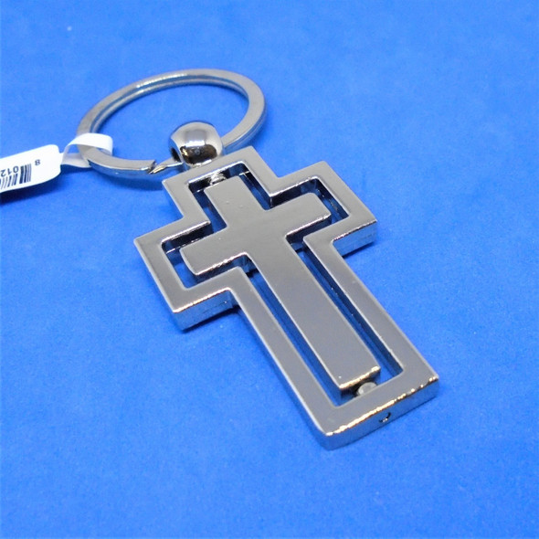 """Best Quality 2"""" Metal Spinning Center Cross Keychains 12 per pk .60 each"""