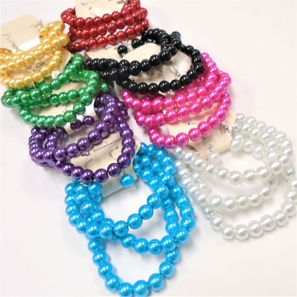Great Value 3 Pk Glass Bead Stretch Bracelet & Earrings Set Brights .56 ea set