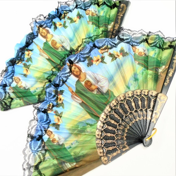"9"" Lace  Fabric Fan  w/ St. Jude Heavenly Scene 12 per pk .54 each"