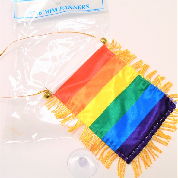 "4"" X 6"" Mini Banner Flag Rainbow Theme   .54 ea"