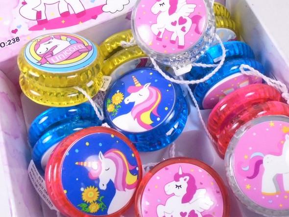Unicorn Theme Light Up YoYo's 12 per display bx .62 each