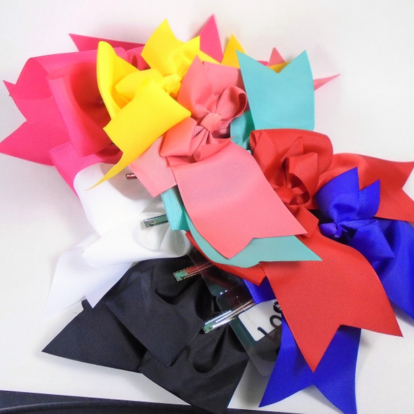 """6"""" X 8"""" Big Size Gator Clip Fashion Bows Tail Style Mixed Colors .54 each"""
