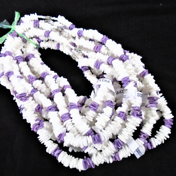 """Special 16"""" Chipped Puka Shell Necklaces White w/ Purple Chips $1.00 ea"""