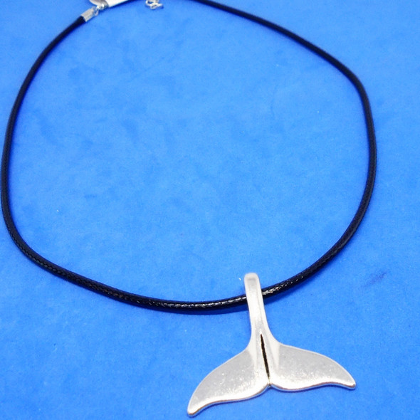 "16""-18"" Black Cord Necklace w/ Silver Whale Tail  Pendant 12 per pk .54  each"